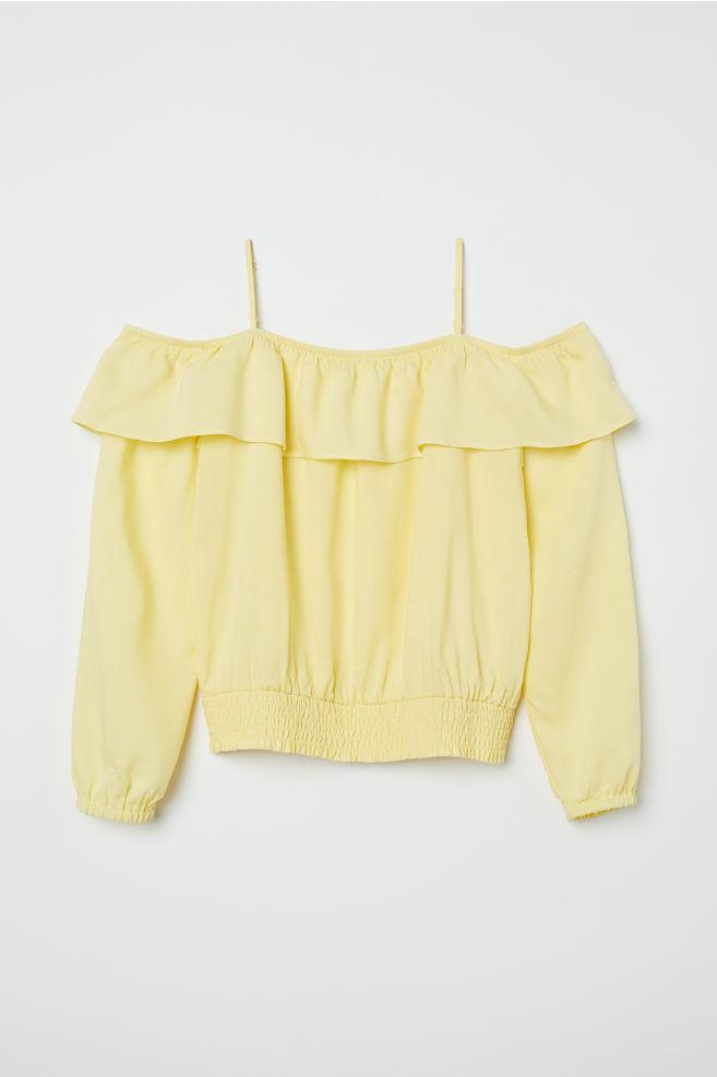 ef40cdbccf7cc0 Open-shoulder Blouse - Light yellow - Kids