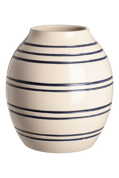 Grand vase en grès - Blanc/bleu/rayé - Home All | H&M FR