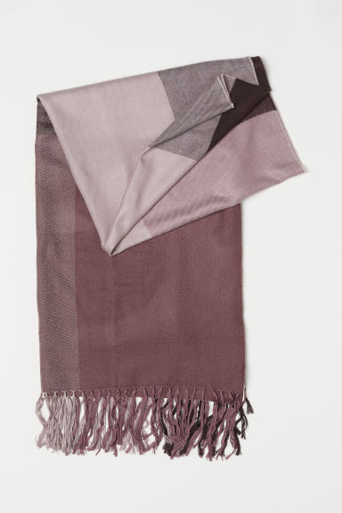 Large scarf - Dark plum/Block-coloured - Ladies | H&M CN