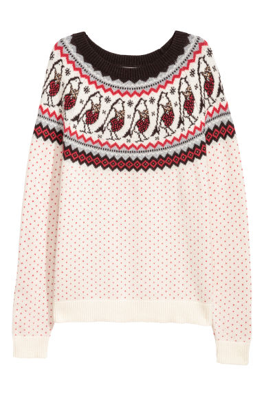 Jacquard-knit jumper - Light beige -  | H&M GB