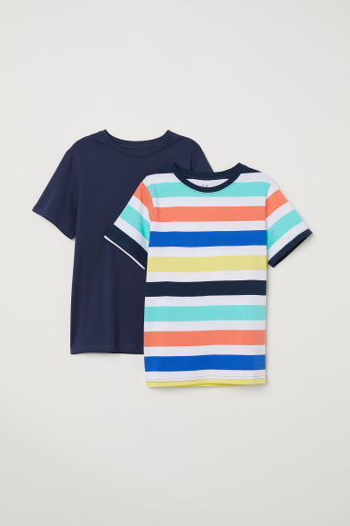 2-pack T-shirts - Orange/Dark blue - Kids | H&M
