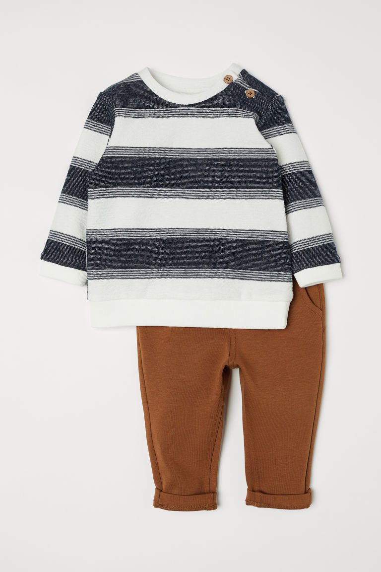 Sweater and Pants - Dark blue/striped - Kids | H&M US