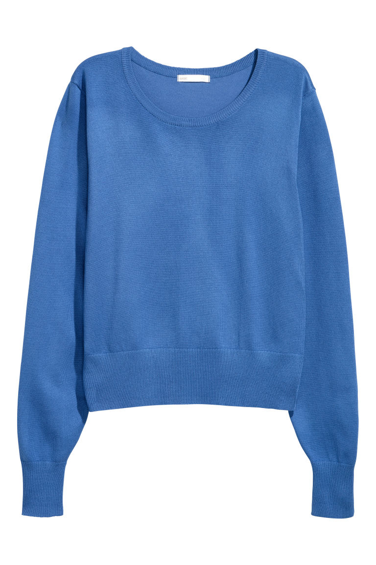 Fine-knit jumper - Dusky blue - Ladies | H&M GB