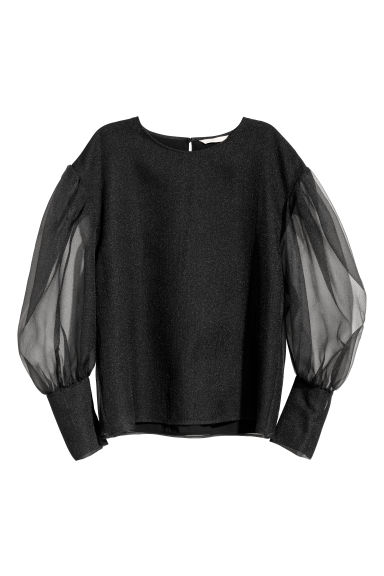 Balloon-sleeved blouse - Black - Ladies | H&M CN
