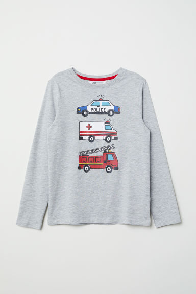 Printed jersey top - Grey marl/Emergency vehicle - Kids | H&M