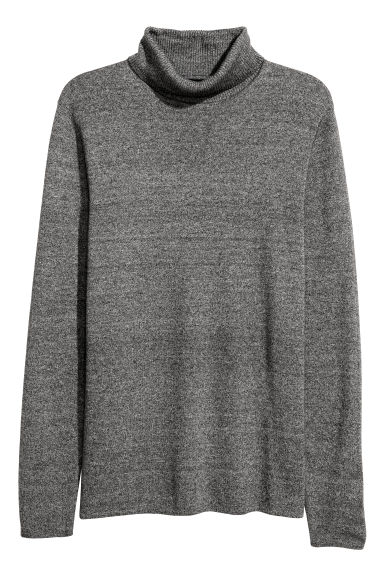 Cotton-blend polo-neck jumper - Grey marl -  | H&M GB