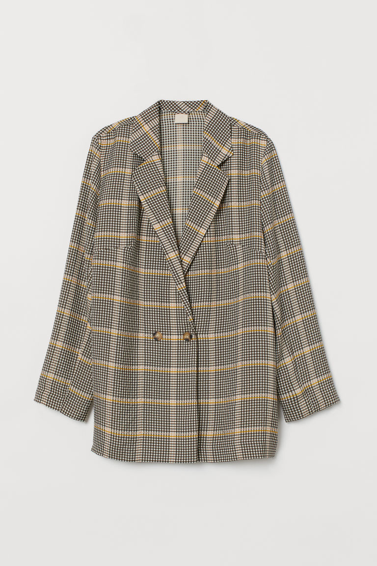 Double-breasted Jacket - Dark beige/checked - Ladies | H&M US