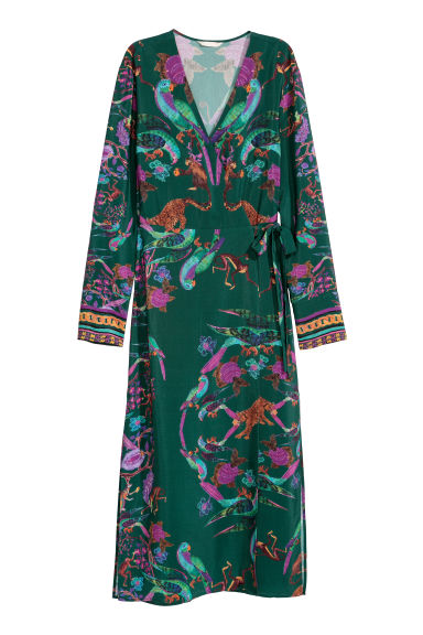 Patterned dress - Dark green/Patterned -  | H&M GB