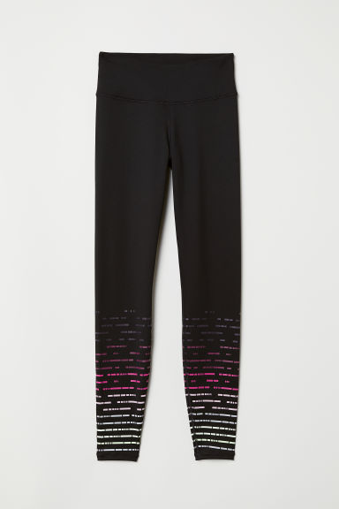 Sports tights - Black/Patterned - Ladies | H&M