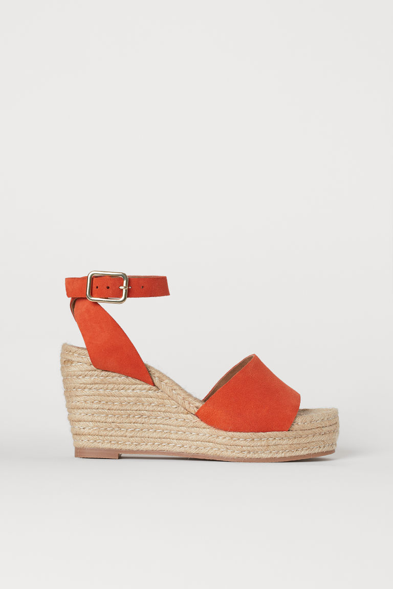 Suede platform sandals - Orange - Ladies | H&M CN