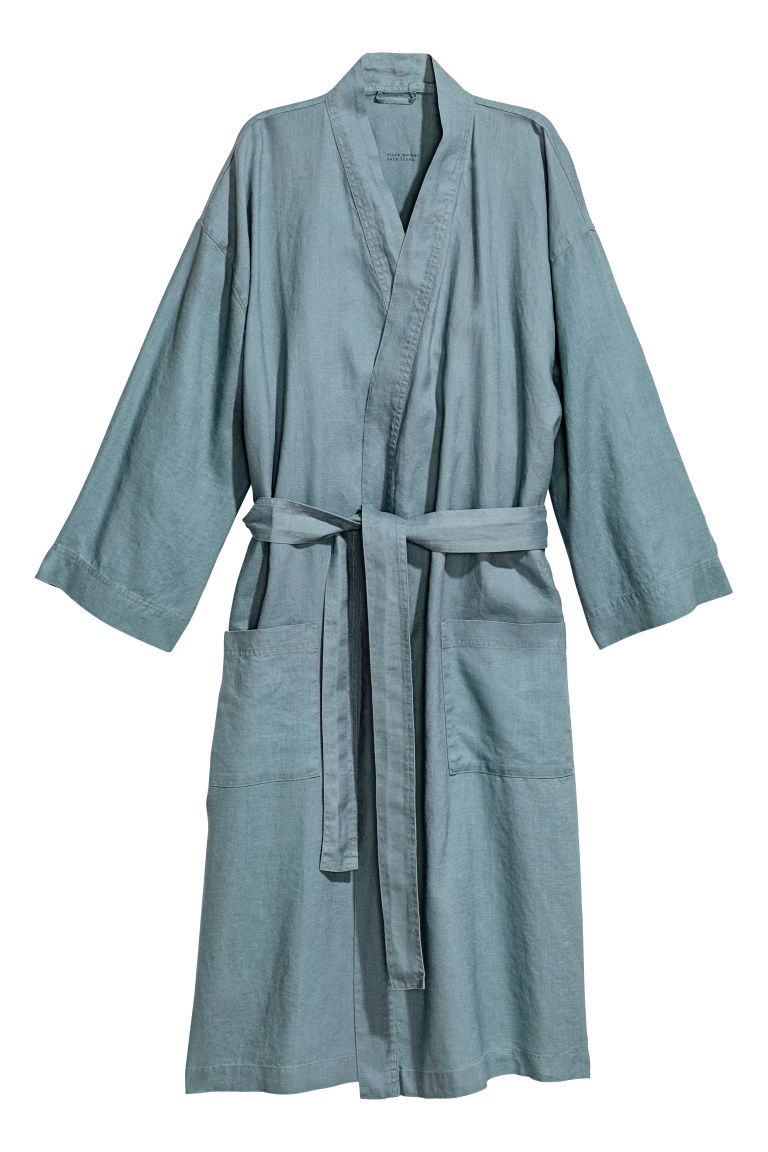 Washed Linen Bathrobe - Light teal - Home All | H&M US