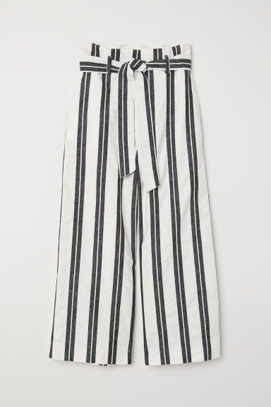Wide cotton trousers - White/Striped - Ladies | H&M CN