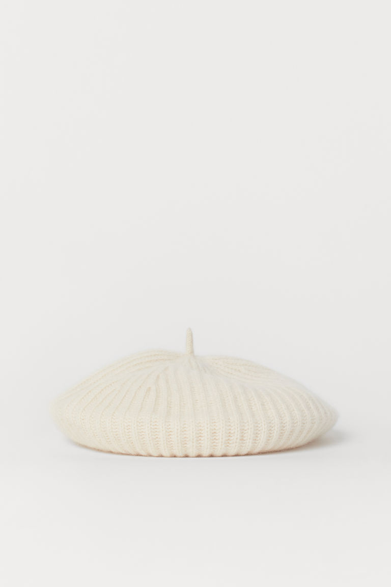 Ribbed cashmere beret - Powder beige - Ladies | H&M