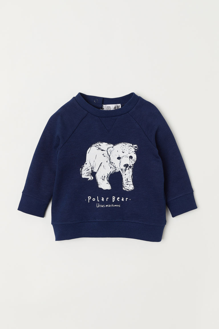 Printed sweatshirt - Dark blue/Polar bear - Kids | H&M CN
