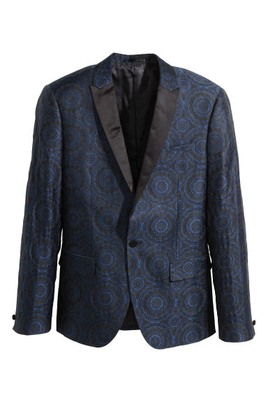 Tuxedo jacket Skinny fit - Black/Blue patterned - Men | H&M CN