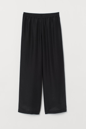 Wide silk-blend trousers