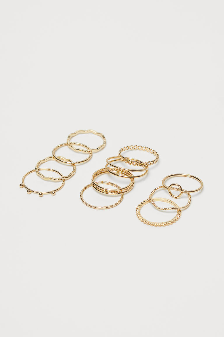 11-pack rings - Gold-coloured - Ladies | H&M GB