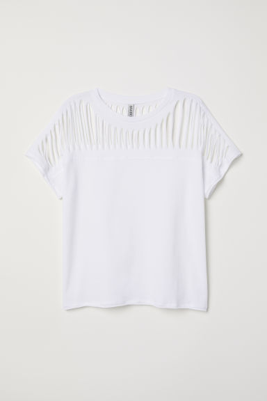 Top in jersey strappato - Bianco - DONNA | H&M IT