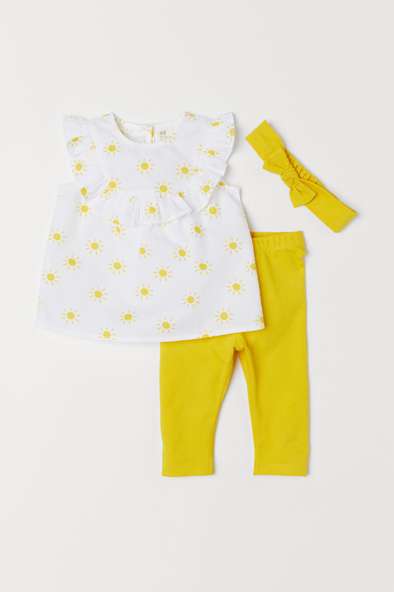 3-piece set - White/Sunbursts - Kids | H&M CN