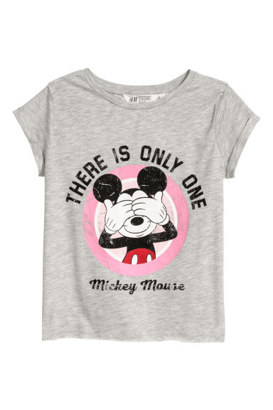 Printed jersey top - Grey/Mickey Mouse -  | H&M