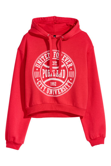Short hooded top - Red -  | H&M