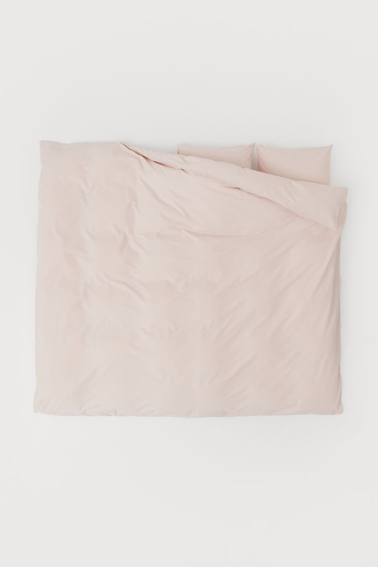 Cotton Duvet Cover Set - Powder pink - Home All | H&M US