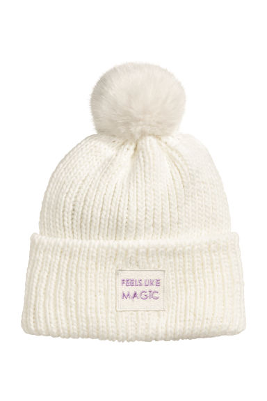 Ribbed hat - Natural white -  | H&M
