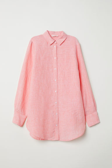 Linen shirt - Light red marl - Ladies | H&M CN