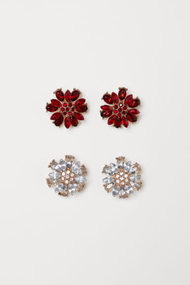 2 pairs earrings - Red - Ladies | H&M