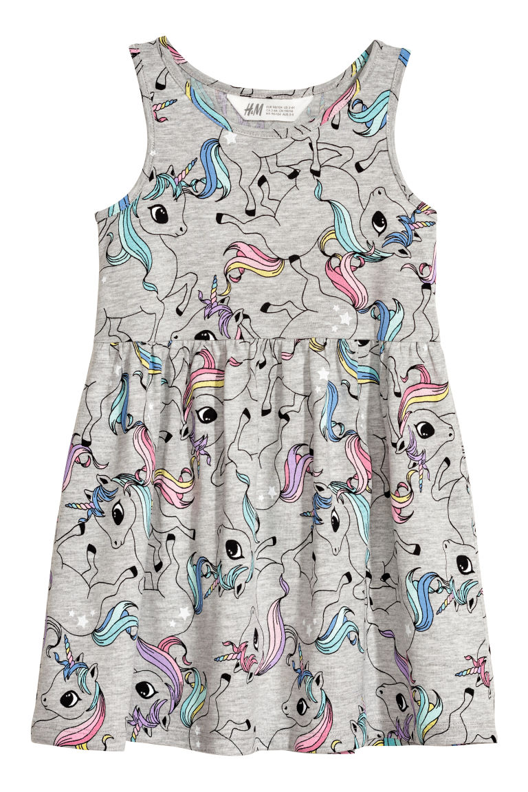 Sleeveless jersey dress - Light grey/Unicorns - Kids | H&M GB