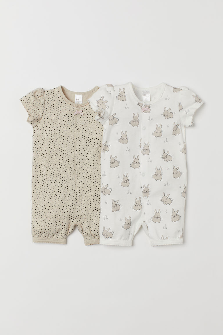 2-pack Jumpsuits - White/rabbits - Kids | H&M US