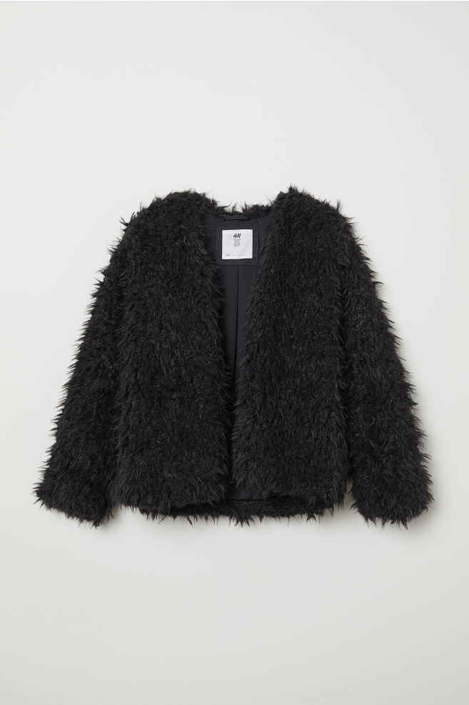3d273113e0 Faux Fur Jacket - Black - Kids | H&M ...