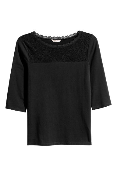H&M+ Jersey top with lace - Black -  | H&M