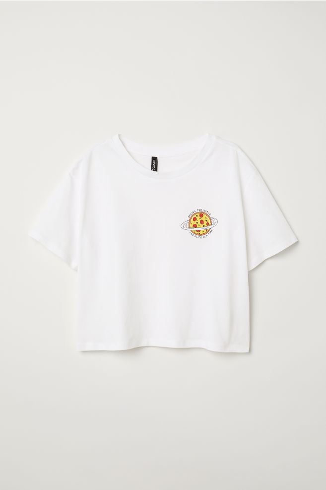 0ee6a971469a Cropped T-shirt - White/Pizza - | H&M ...