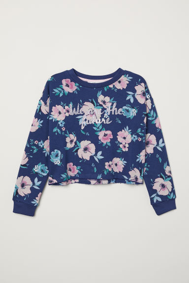Short sweatshirt - Dark blue/Floral - Kids | H&M