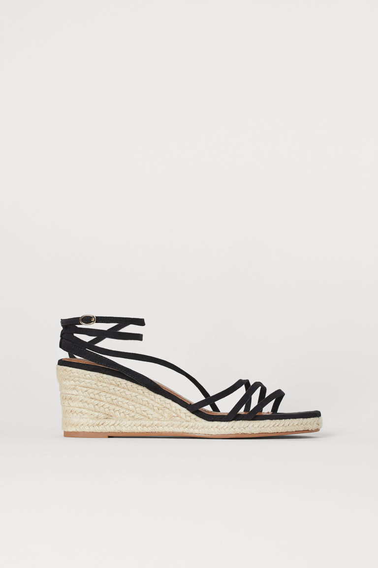 Wedge-heel sandals - Black - Ladies | H&M CN
