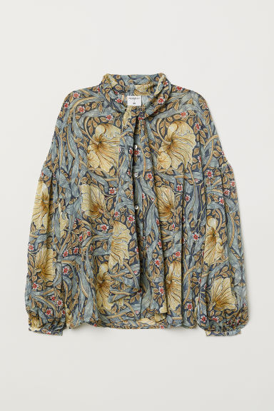 Patterned blouse with ties - Blue/Floral - Ladies | H&M CN