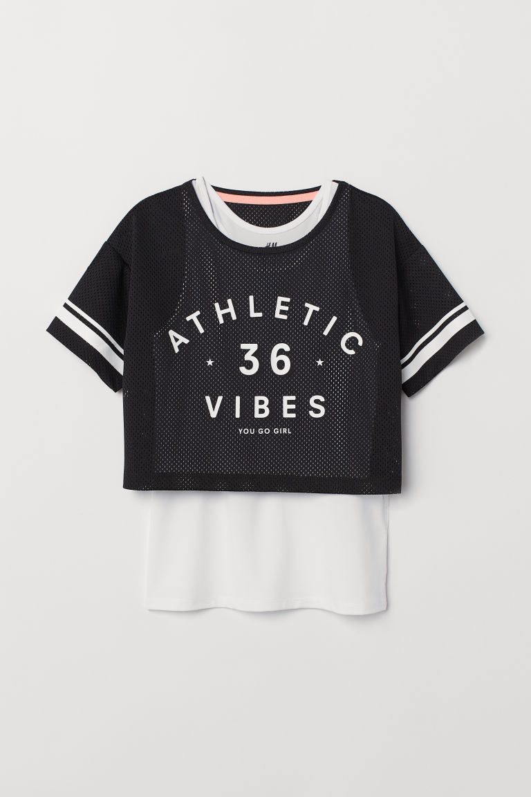Double-layered sports top - Black/White - Kids | H&M CN