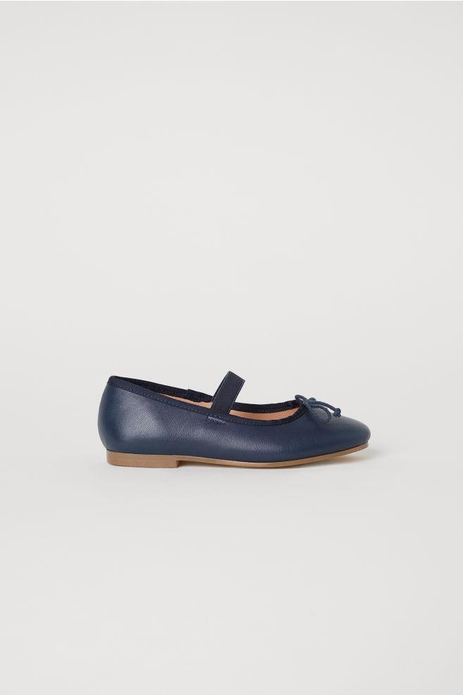 cb745ec44 Leather ballet pumps - Dark blue - Kids | H&M ...