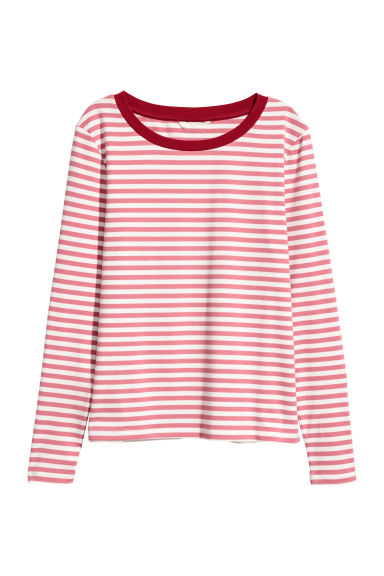 Gestreepte tricot top - Nevelroze/wit gestreept -  | H&M BE
