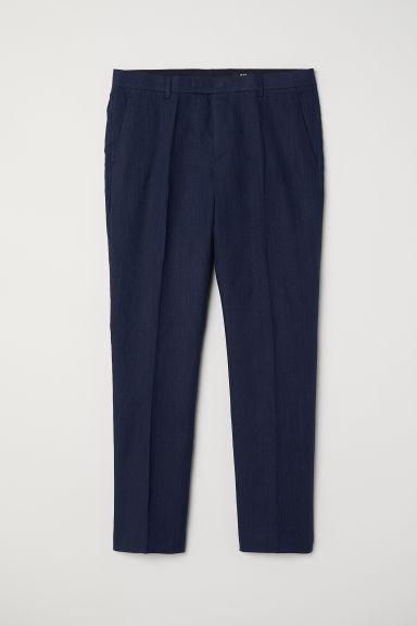 Pantaloni in lino Slim fit - Blu scuro mélange - UOMO | H&M IT