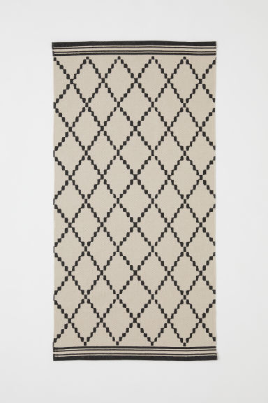 Patterned cotton rug - Light beige/Grey patterned - Home All | H&M CN