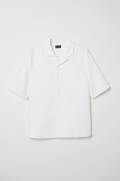 Linen-blend resort shirt - White - Men | H&M