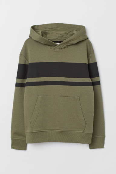 Hooded top - Khaki green/Black - Kids | H&M