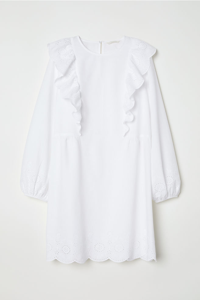 7adb2462a42 Dress with broderie anglaise - White - Ladies