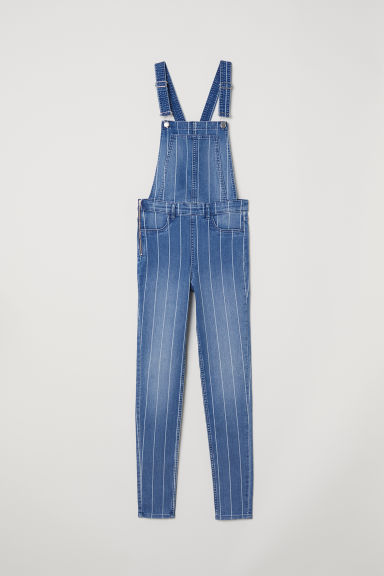 Denim dungarees - Denim blue/Striped -  | H&M CN