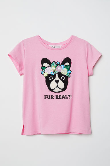 T-shirt with a motif - Pink/Fur Real - Kids | H&M