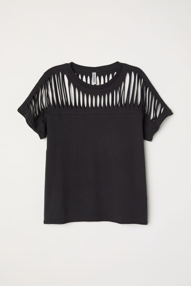 Top in jersey strappato - Nero - DONNA | H&M IT