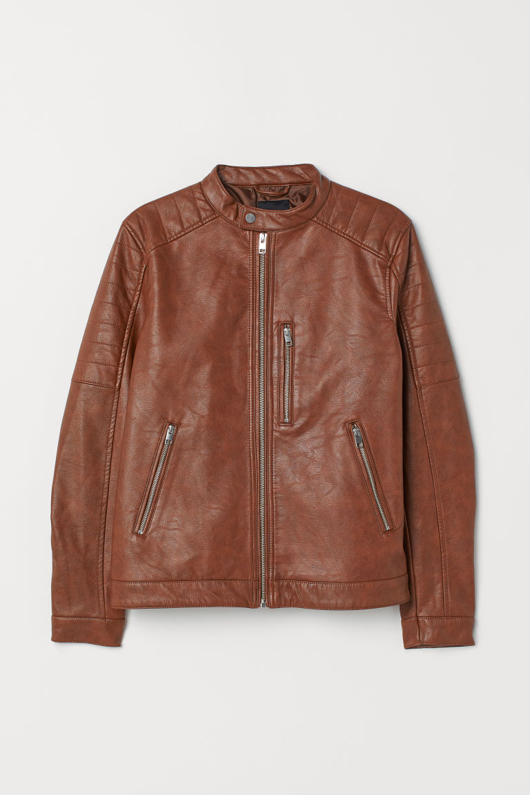 Biker jacket - Cognac brown - Men | H&M