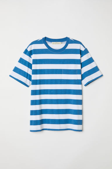 T-shirt with a chest pocket - Blue/White striped -  | H&M